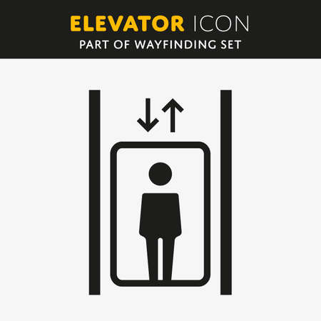 general warning: Vector Elevator Icon. Lift sign with man. Up and Down symbol.