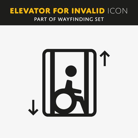Disability man pictogram flat icon lift isolated on white background