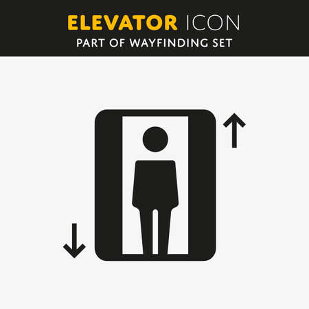 lift up: Vector Elevator Icon. Lift sign with man. Up and Down symbol.