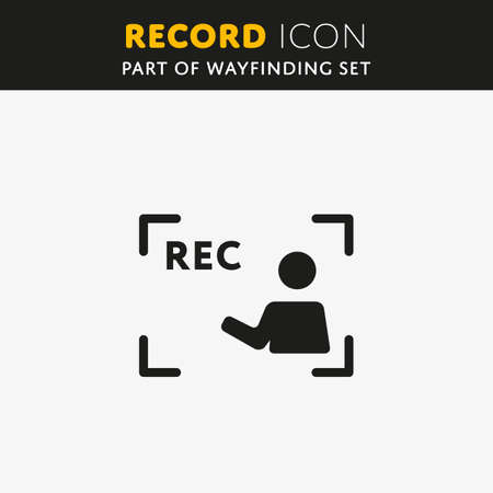 rec: Vector Rec Icon. Video sign in flat style. Illustration symbol.