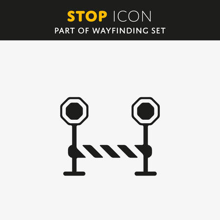 barrier gate: Vector Stop Icon. Barrier sign. Gate symbol