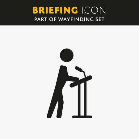 ブリーフィングのアイコンをベクトルします。プレゼンテーションの標識です。講義記号  イラスト・ベクター素材