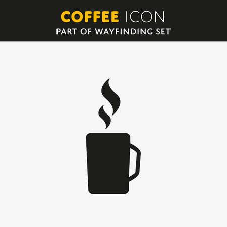 Icona semplice del caffè di vettore isolata su fondo bianco. Archivio Fotografico - 58222248