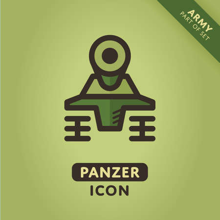 Panzer: Vector tank icon. Military Panzer sign. Army symbol