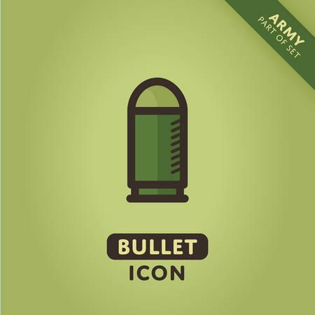 ammo: Vector bullet icon. Ammo sign. War symbol Illustration