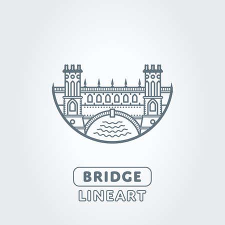 transportation silhouette: Vector bridge and river stylized symbol. Castle icon Illustration