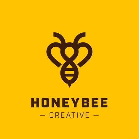 Hive: Bee Logo design vector template linear style. Outline icon.  Creative Hard work Hive Logotype concept