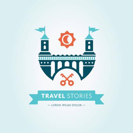 logo batiment: Résumé château vecteur logo modèle. Soleil et icônes clés.