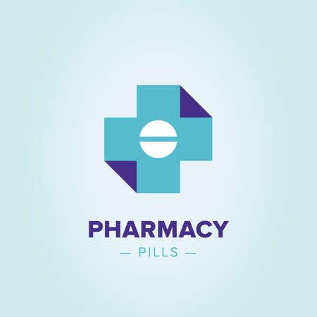 Icona croce Medic, modello di farmacia logo. Corporate, identità, società, marchio, marchio, logo pulito stile moderno ed elegante Archivio Fotografico - 58222276
