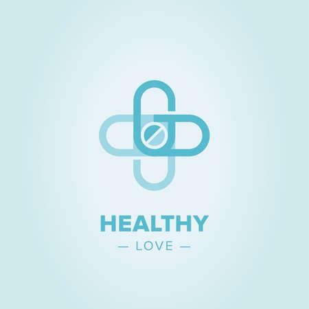Icona croce Medic, modello di farmacia logo. Corporate, identità, società, marchio, marchio, logo pulito stile moderno ed elegante Archivio Fotografico - 58222280