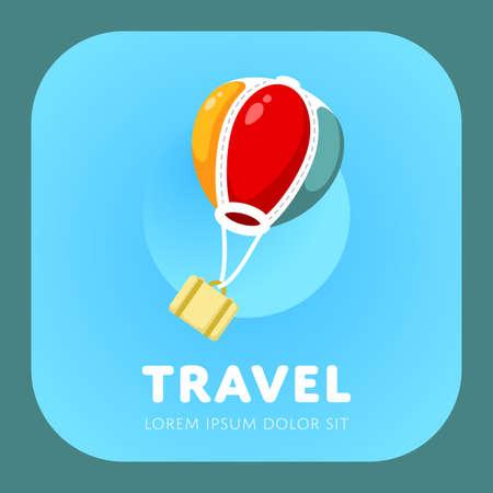Simple air balloon logo. Air travel sign. Vacation symbol. Vector illustration. Logo
