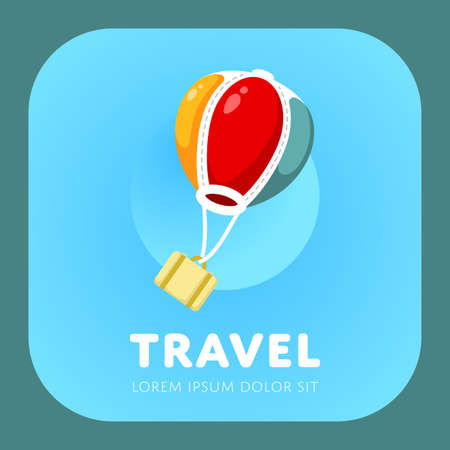 simple logo: Simple air balloon logo. Air travel sign. Vacation symbol. Vector illustration.