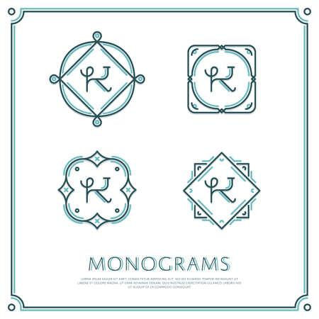Linea Lettera K Monogram. Vector Logo. Progettare elementi di confine. Archivio Fotografico - 58222422