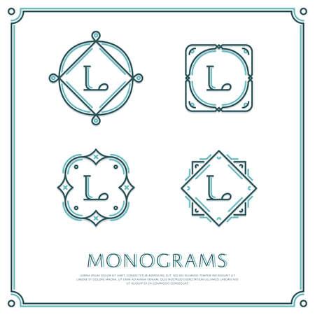 Linea Lettera L Monogramma. Logo di vettore. Elementi di bordo di progettazione. Archivio Fotografico - 58222423