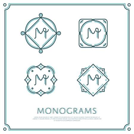 Linea Lettera M Monogramma. Logo di vettore. Elementi di bordo di progettazione. Archivio Fotografico - 58222424
