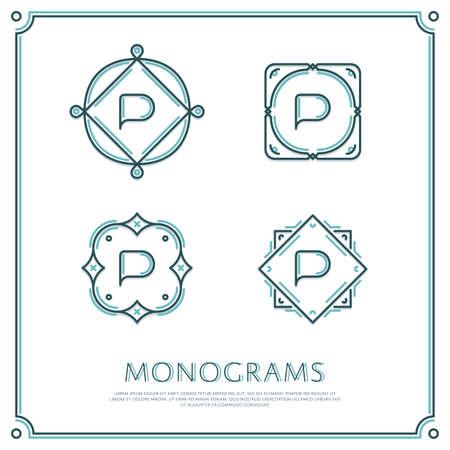 Line Letter P Monogram. Logo vettoriale. Progettare elementi di bordo. Archivio Fotografico - 58222427