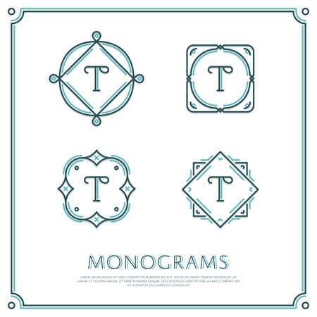 Line Letter T Monogram. Vector Logo. Design Border Elements. Logó