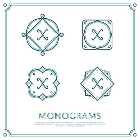 Line Letter X Monogram. Logo vettoriale. Progettare elementi di bordo. Archivio Fotografico - 58222518