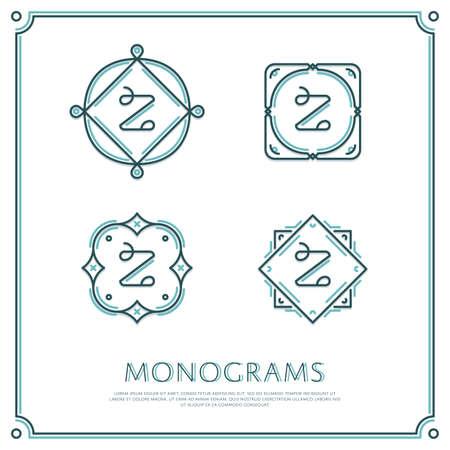 Linea Lettera Z Monogram. Vector Logo. Progettare elementi di confine. Archivio Fotografico - 58222520