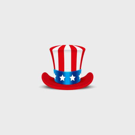 Cappello zio Sam su sfondo bianco. Cilindro USA americano. giorno Idependence. Nazionale Patriottico Data Archivio Fotografico - 60531290