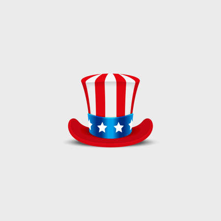 uncle sam hat: Uncle Sam hat on white background. Cylinder USA American. Idependence day. National Patriotic Date Illustration