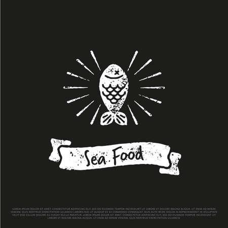 Pesce illustrazione Logo Vector. Vintage Salmon Fishing emblema, etichette e elemento di design EPS. Archivio Fotografico - 60901195