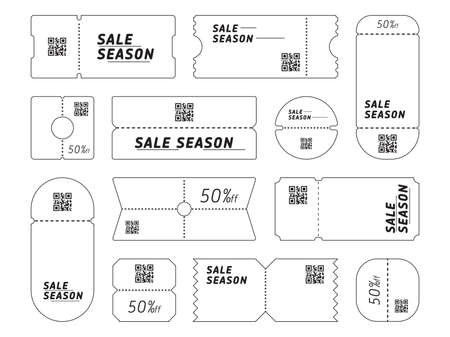 Set of ticket templates with sale season writing with QR codes.  イラスト・ベクター素材
