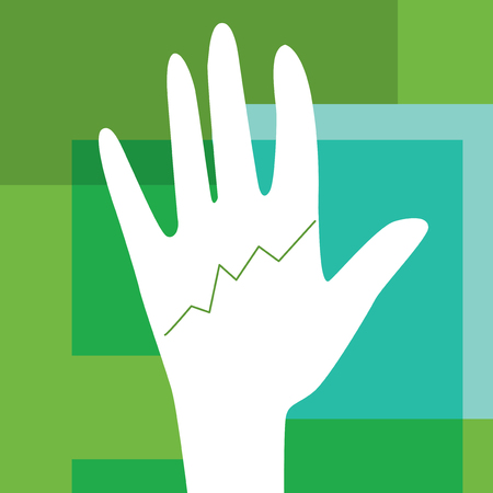 clairvoyance: Open hand with a line graph as it were a palm line