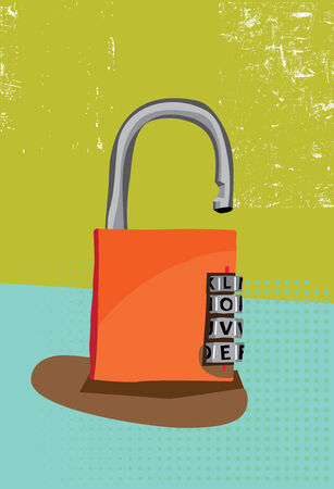 Padlock with love as a combination code