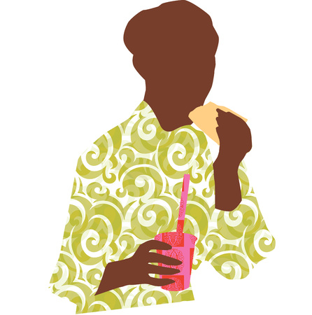 Woman sitting eating a sandwich and drinking soda Vector