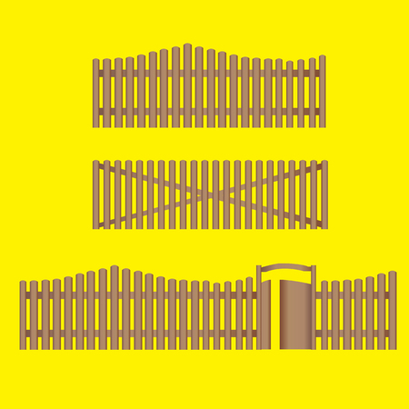 Vector - Vector Illustration of Various Wooden Fences and other Barriers Illustration