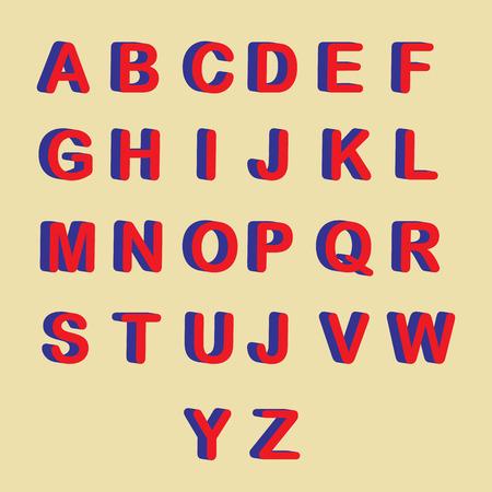 Vector - 3D lettertype, grote witte letters staan Stock Illustratie