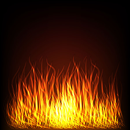 Vector - Abstract background with fire flames frame and copyspace for text. Vector illustration. Burning fire frame. Vector Fiery Background. Campfire. Transparent fire flames