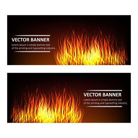Vector - Realistic burning hot fire campfire isolated set of advertisement banners. Vector illustration. Fire flame strokes. Horizontal banners. Fire frames. Fiery cards set.