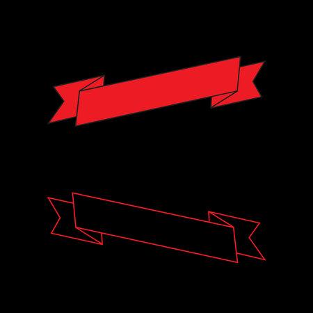 Vector - Red ribbon set, flat design