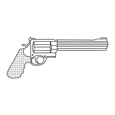 revolver weapon handgun pistol gun firearm shot vector illustration
