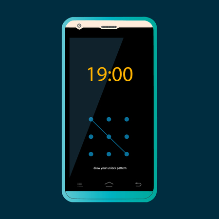 Modern user interface with a screen lock. Phone vector illustration.