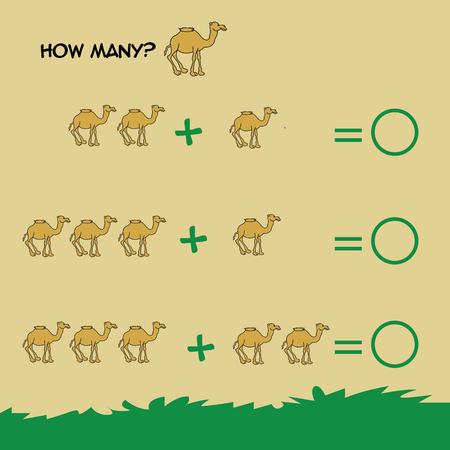 Juego educativo de matemáticas para niños. Aprendiendo contando, hoja de trabajo de la adición para los cabritos. Fracciones, mitad