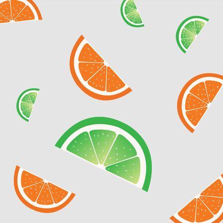Fruit slices pattern. Vector illustration. Grey background Illustration