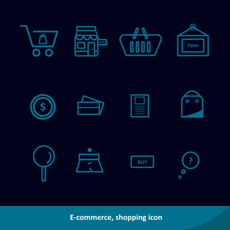 E-commerce, shopping outline icon set. Vector illustration. Black background Illustration