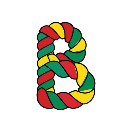 B rope decoration typography vector illustration. Illustration