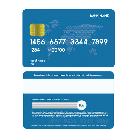 Realistic credit card front and back side view mock up.