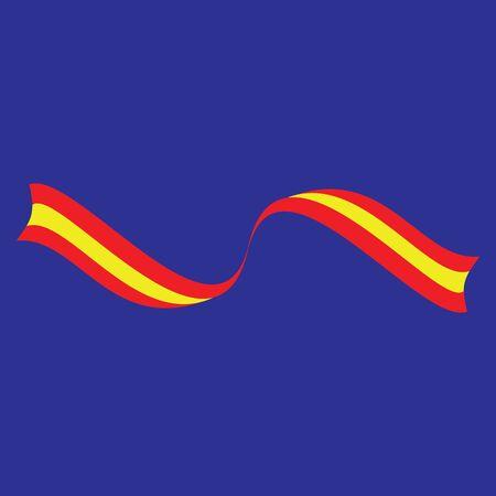 Spanish flag on a blue background. Vector illustration. Hispanic day