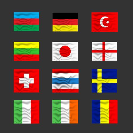 Flags on soft and silk texture of the countries illustration.