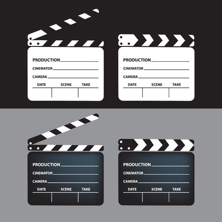 Set of movie clapperboard. Blank movie clapperboard. Vector Illustration