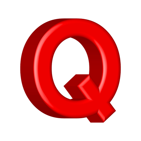 Letter Q from  solid alphabet. There is a clipping path
