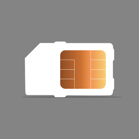 Vector Mobile Cellular Phone Sim Card Chip Isolated on background Ilustrace
