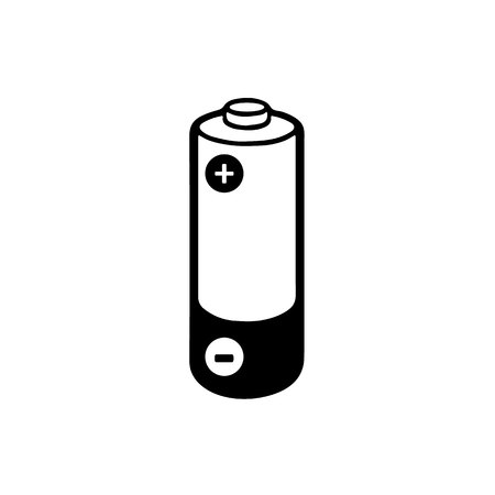 Simple illustrated battery icon with  charge isolated on white background. Ilustrace