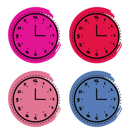 Clock doodles vector illustration set