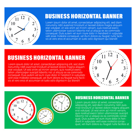 Set of three horizontal business banners templates. Vector